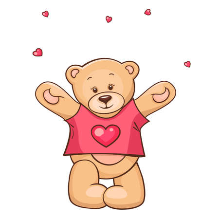 Illustration of cute Teddy Bear in heart t-shirt  Vector