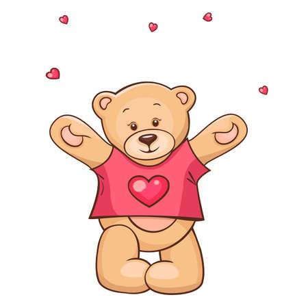 peluche: Ilustraci�n de lindo Osito de peluche en el coraz�n de la camiseta Vectores