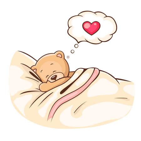 Illustration von niedlichen Teddybären schläft auf Kissen Illustration