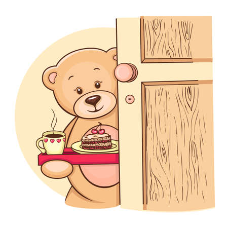 Hand drawn Teddy Bear holding tray with breakfast, vector illustration for your design  illustration