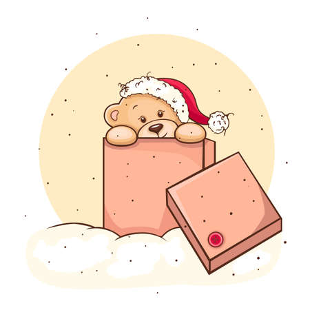 stuffed animals: Illustration of cute christmas Teddy Bear in box, for xmas design