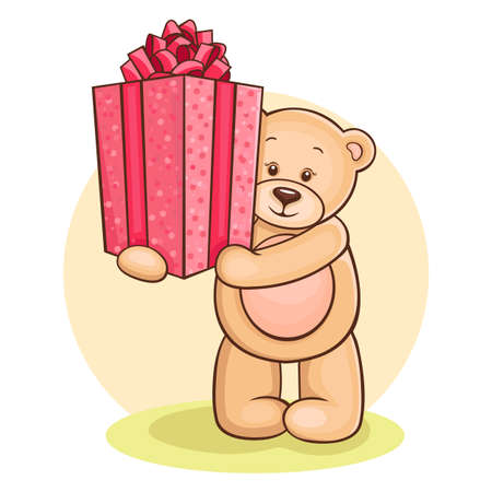 stuffed animals: Illustration of cute Teddy Bear gives present box
