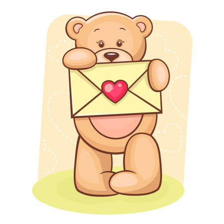 soft toy: Illustration of cute Teddy Bear holding envelope with heart