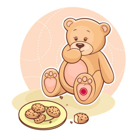 stuffed animals: Illustration of cute Teddy Bear eating cookies  Illustration