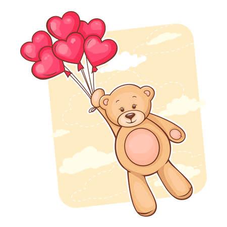 Illustratie van schattige teddybeer met rood hart ballonnen
