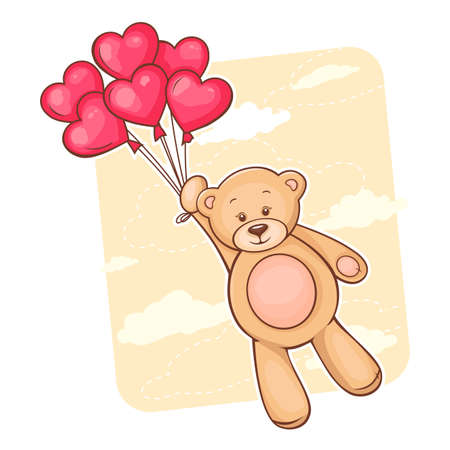 Illustration of cute Teddy Bear with red heart balloons  Stock Illustration - 13122457
