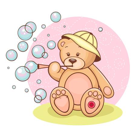 Illustration of cute Teddy Bear and  bubbles   Vector