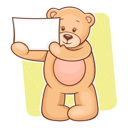 Illustration of cute Teddy Bear with sign for your text  Vector