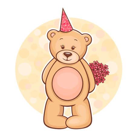 꽃과 귀여운 테디 베어의 그림 일러스트