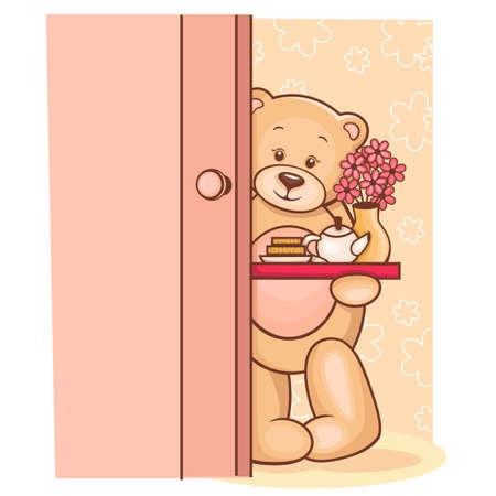 Illustration of cute Teddy Bear holding a breakfast tray with flowers  illustration