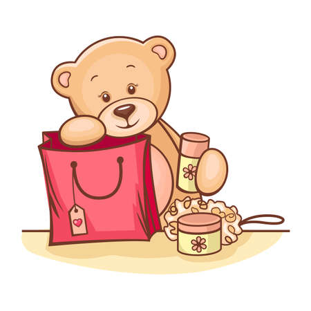 Illustration of cute Teddy Bear with gifts  Vector