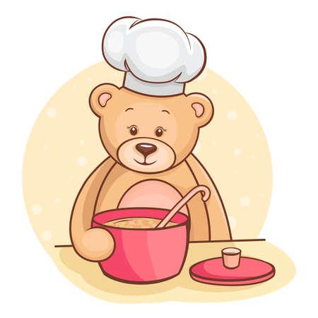 ladle: Illustration of cute little Teddy Bear chef