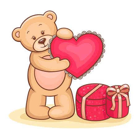 Illustration of cute Teddy Bear with pink love heart and gifts  Vector