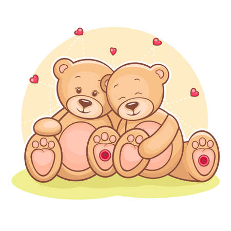 Illustration of loving couple Teddy bears with hearts
