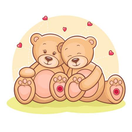 Illustration von Liebespaar Teddybären mit Herz