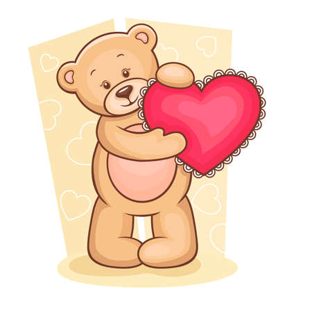soft toy: Illustration of cute Teddy Bear with pink love heart and gifts  Illustration