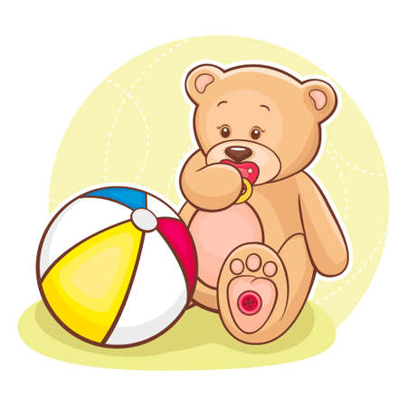 Illustration of cute little Teddy Baby with ball  Stock Vector - 13262350