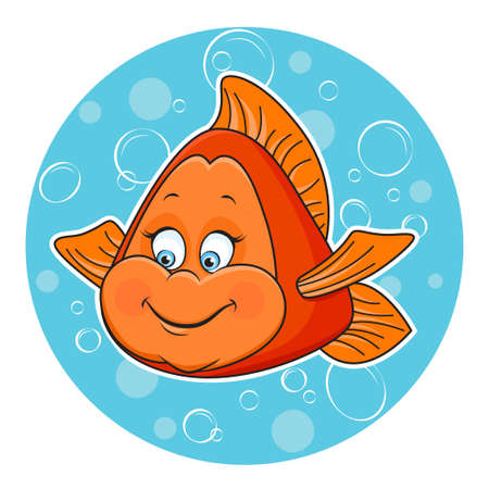 Illustration of fun Golden fish in the water  Vector