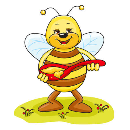 Illustration of friendly Cute Bee eating honey  Vector