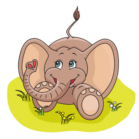 Illustration of cute Baby Elephant playing in the grass Stock Vector - 13614397