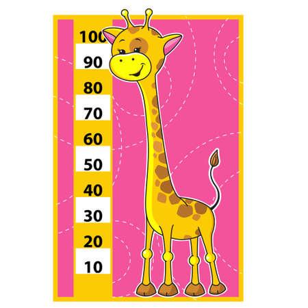 Cute dibujos animados ilustración vectorial de la escala de jirafa