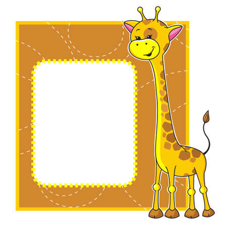 Cute cartoon frame with little giraffe  Vector