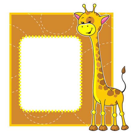 jirafa: Marco lindo de la historieta con la pequeña jirafa
