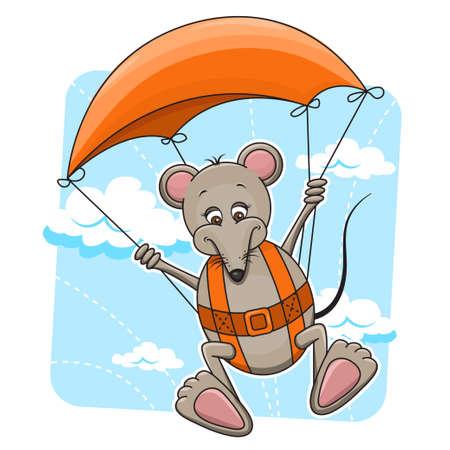 fallschirm: Nette Karikaturillustration Maus Fliegen am Fallschirm Illustration