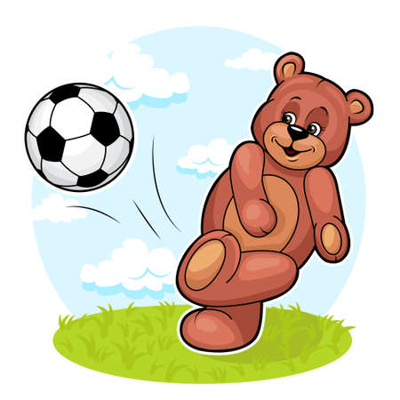 Cute cartoon vector illustration of Teddy Bear is kicking a soccer ball up into the air  Иллюстрация