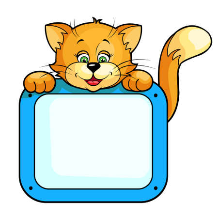 Cute cartoon vector illustration of Cat with frame  Isolated on white  Vector