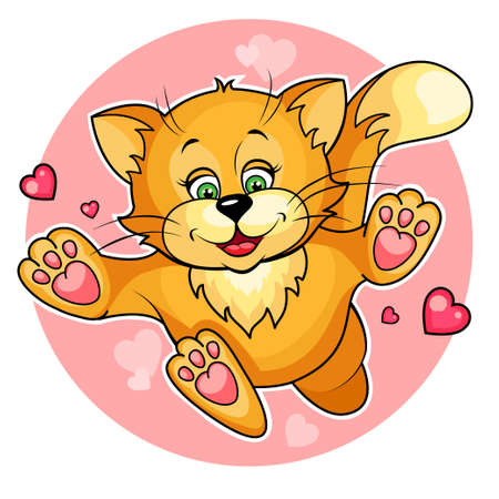 huggable: Cute cartoon vector illustration of  valentine Cat  Isolated on white  Illustration