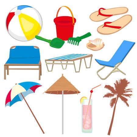sandal tree: Iconos de vacaciones y los viajes aislado en blanco baskground