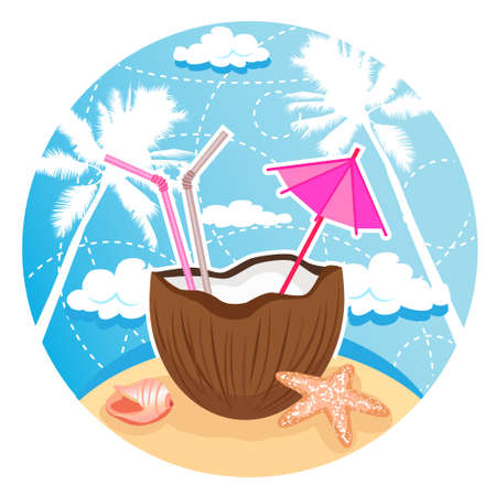 coconut cocktail on tropical beach  Vector