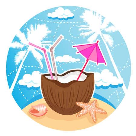 coconut cocktail on tropical beach Stock Vector - 14071453