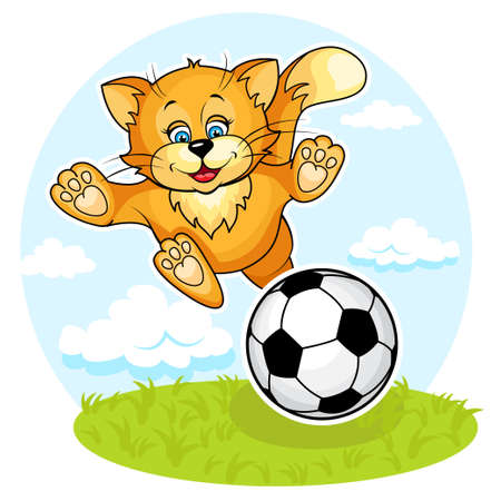 animals feeding: cute Kitten and football  Separate layers  Illustration