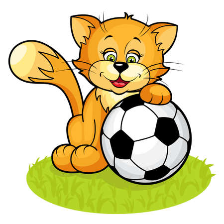 cute Kitten and soccer ball Vector
