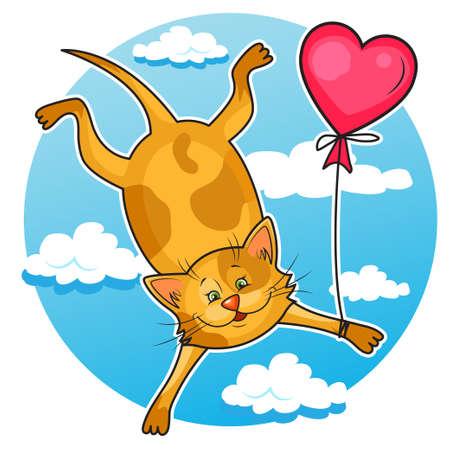 balloon animals: Cute cartoon vector illustration of valentine Cat flying on balloon  Isolated on white  Illustration