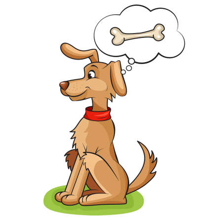Illustration of Cute cartoon vector dog, dreams of delicious bone  Isolated on white  Vector