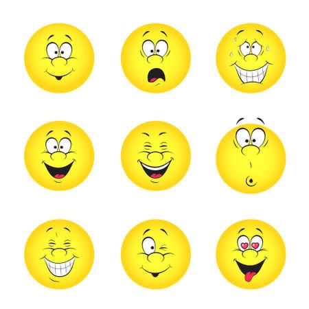 cara sonriente: Conjunto Ilustración vectorial de fresco sonrisa bolas Todos los elementos se agrupan