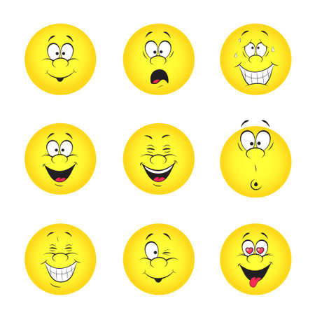 Vector illustration set of cool smile-balls  All elements are grouped  Vector