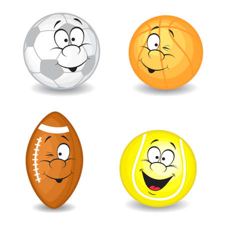 eight: Cartoon sport balls  Vector collection  Isolated on white background