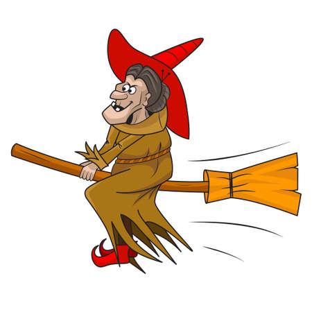 wiedźma: czarownica kreskówka latania na miotle jej Ilustracja