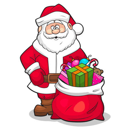 degraded: Vector illustration of Santa Claus with sack full of gifts