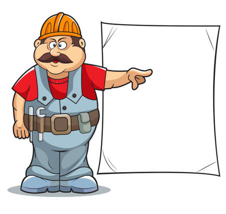 craftsmen: Illustration of Catoon Builder worker man s with sign