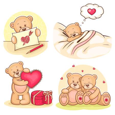 귀여움: 귀여운 발렌타인 테디 베어의 아름다운 만화 모음 일러스트
