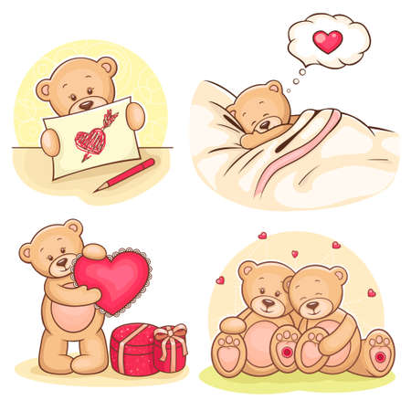 Beautiful cartoon collection of cute valentine Teddy Bears  Vector