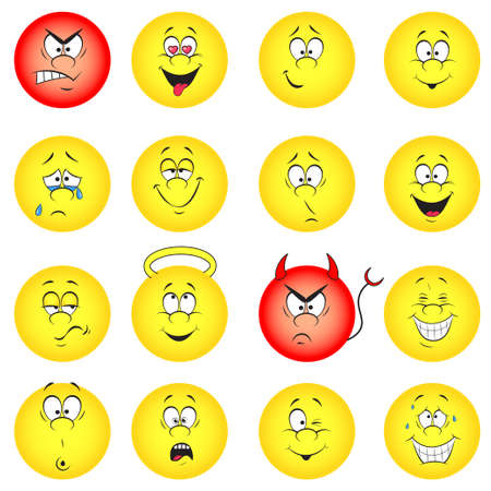 Vector illustration set of cool smile-balls  All elements are grouped