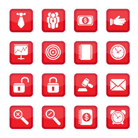 Vector business strategy icons set  All elements are grouped  Stock Vector - 14594341