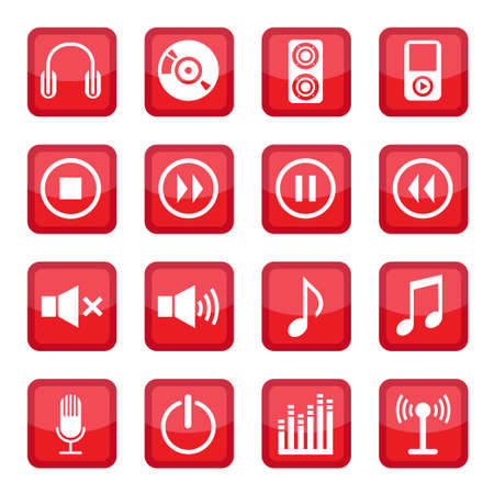 Audio Icon Set for web and mobile  All elements are grouped Stock Vector - 14655934