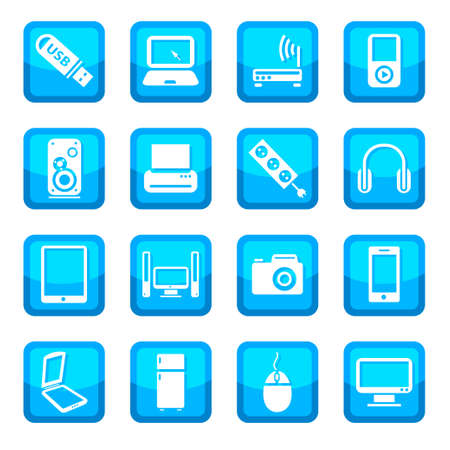 televisor: Electronic devices icon set for web and mobile  All elements are grouped